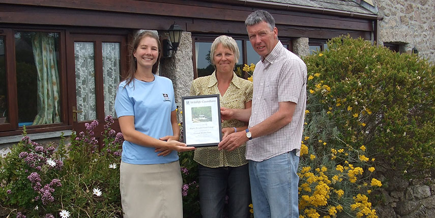 Receiving Our Business Member's Certificate from Cornwall Wildlife Trust
