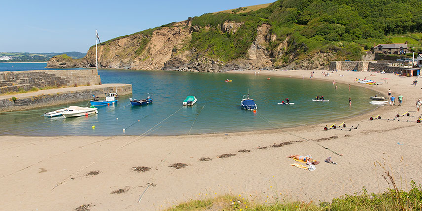 polkerris beach near st austell in cornwall